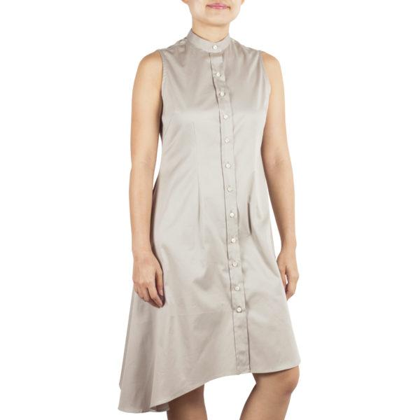 bando side drape dress tencel made in singapore