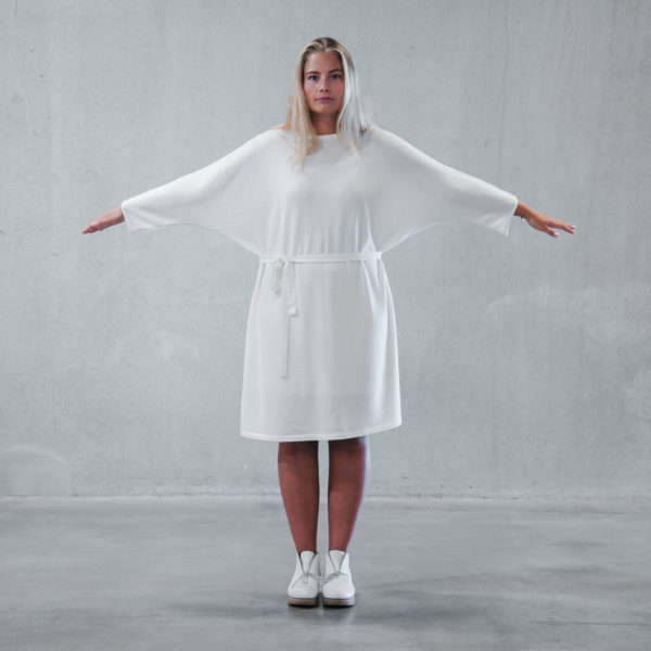 Kapalo merino wool white dress made in finland