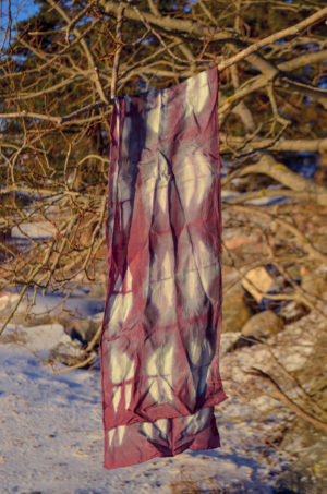 purple silk shibori scarf