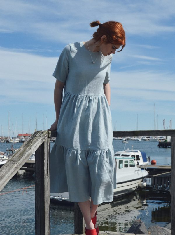 Laura gathered linen dress in Cloud Grey, made in finland ethical sustainable clothing