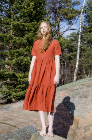 Gathered linen laura dress in rust, made in finland