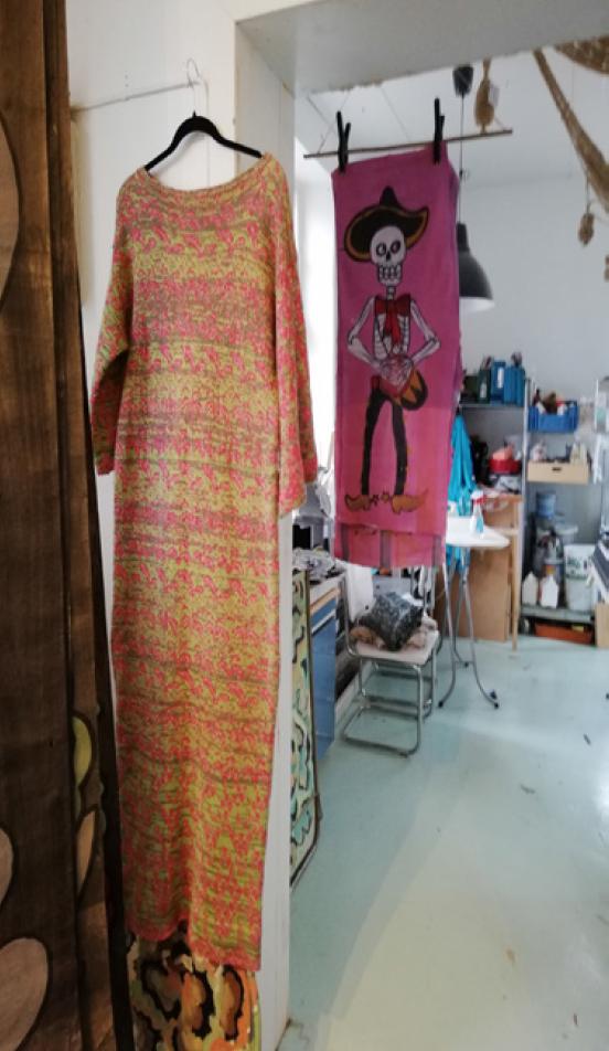 cotton dress knitted in fiskars finland