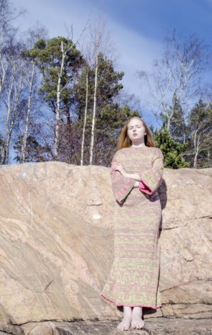 cotton dress knitted in fiskars finland