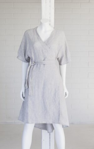 seili wrap dress in linen made in finland