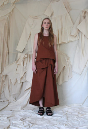 Draped Dress in Burnt Orange made in england