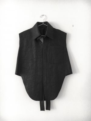 black pineapple leather vest