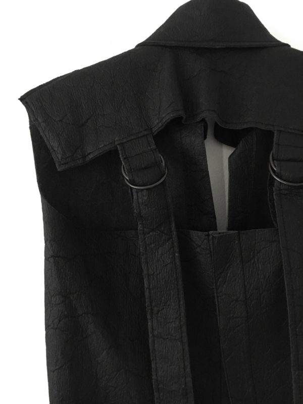 black pineapple leather vest made in england
