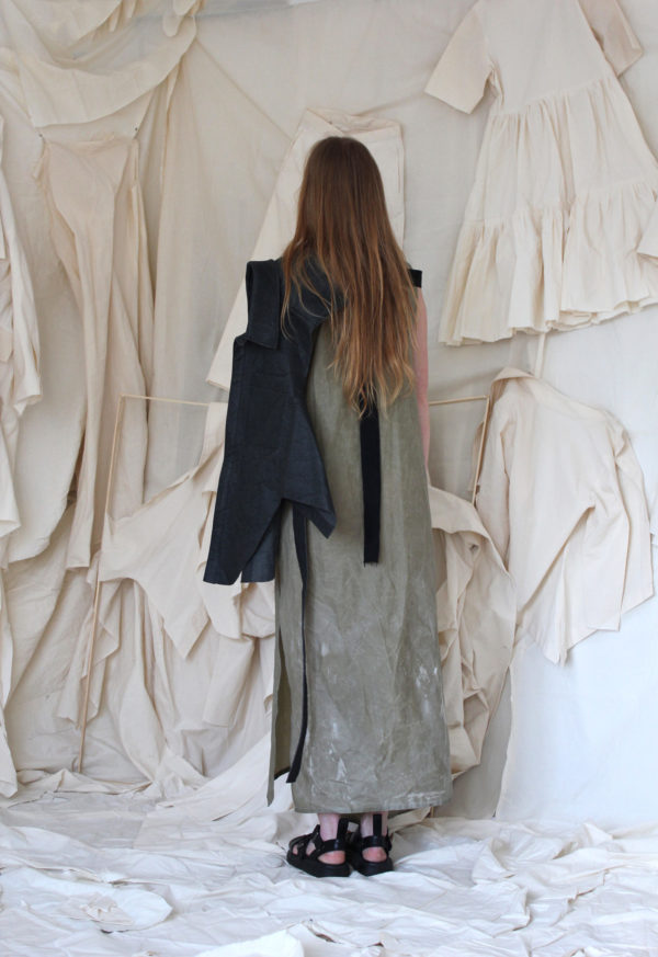 sculptural waxed cotton dress made in england