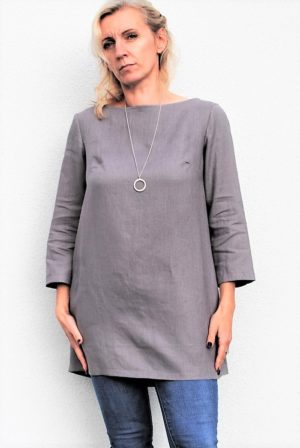 pellava tunic greige linen, made in poland