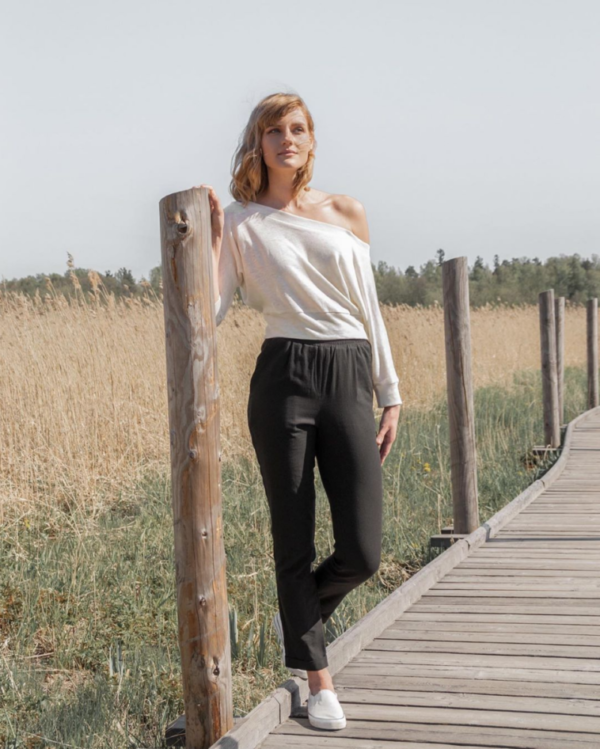 sunlight-play-off-shoulder and soft wind trousers
