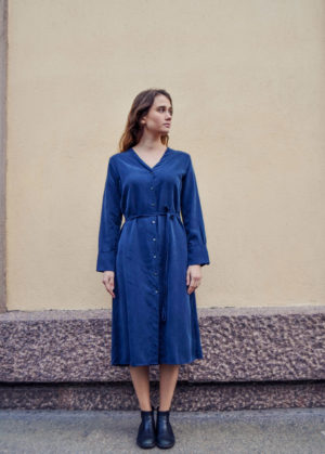 Tuula tencel navy shirtdress, made in finland ethical sustainable clothing