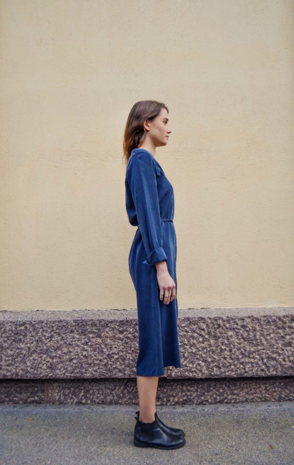 Tuula tencel navy shirtdress, made in finland