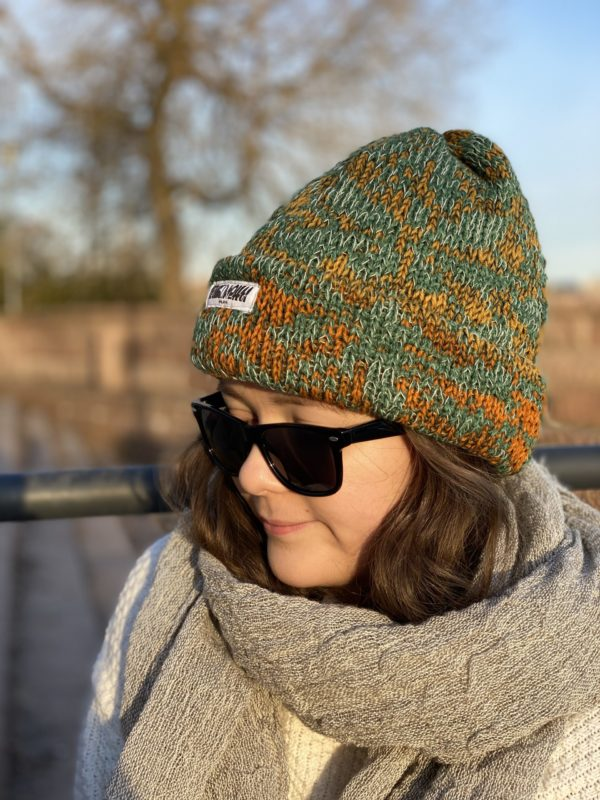 apricot beanie wool knitted in fiskars finland