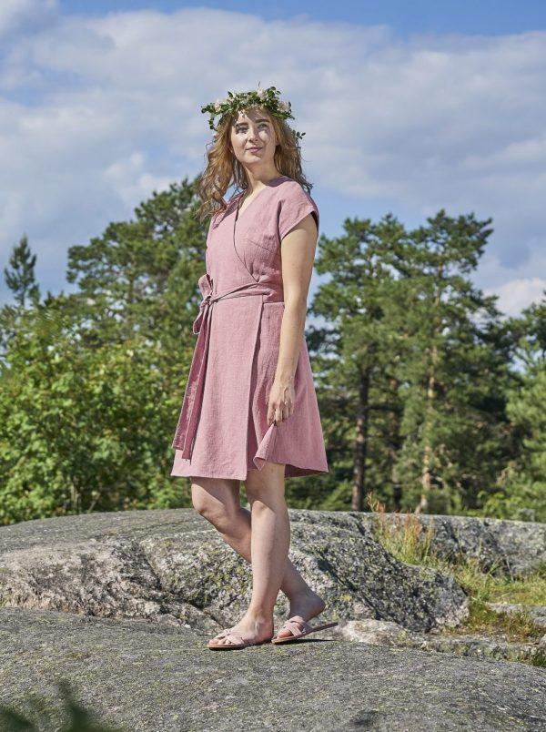 pink dress ramie, made in helsinki