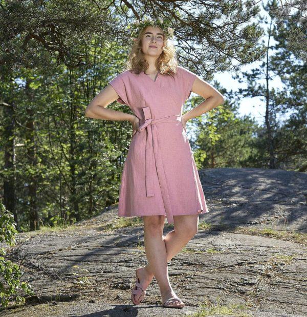 pink dress in ramie, made in helsinki