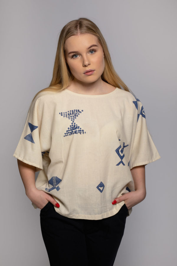 Eri block top, peace silk top block printed in singapore