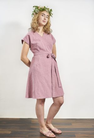 Laakso Dress Powder pink ramie, made in helsinki