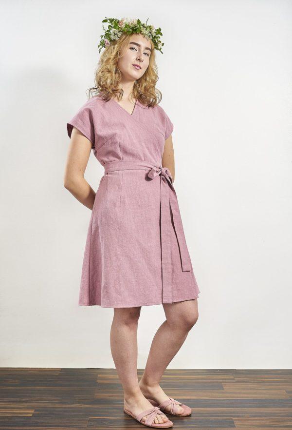 Laakso Dress Powder pink ramie, made in helsinki