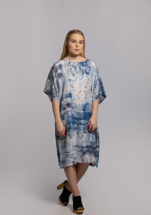 blue city dress hand dyed in singapore