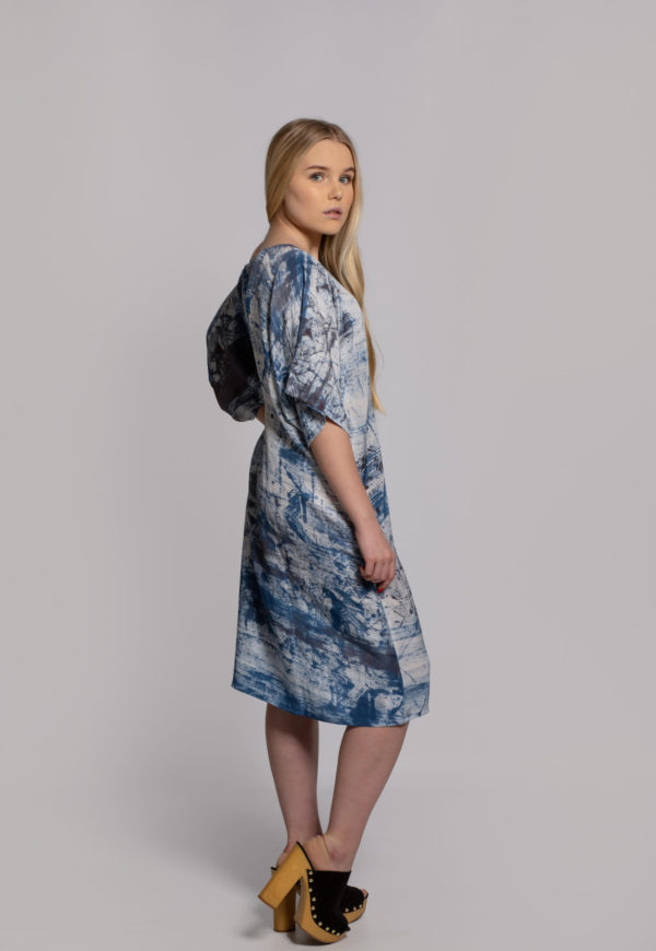 blue city silk dress hand dyed in singapore