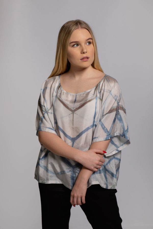 drop in the ocean top silk hand dyed in singapore