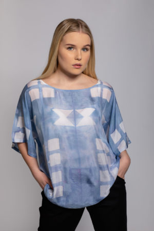 geometry silk top shibori hand dyed in singapore