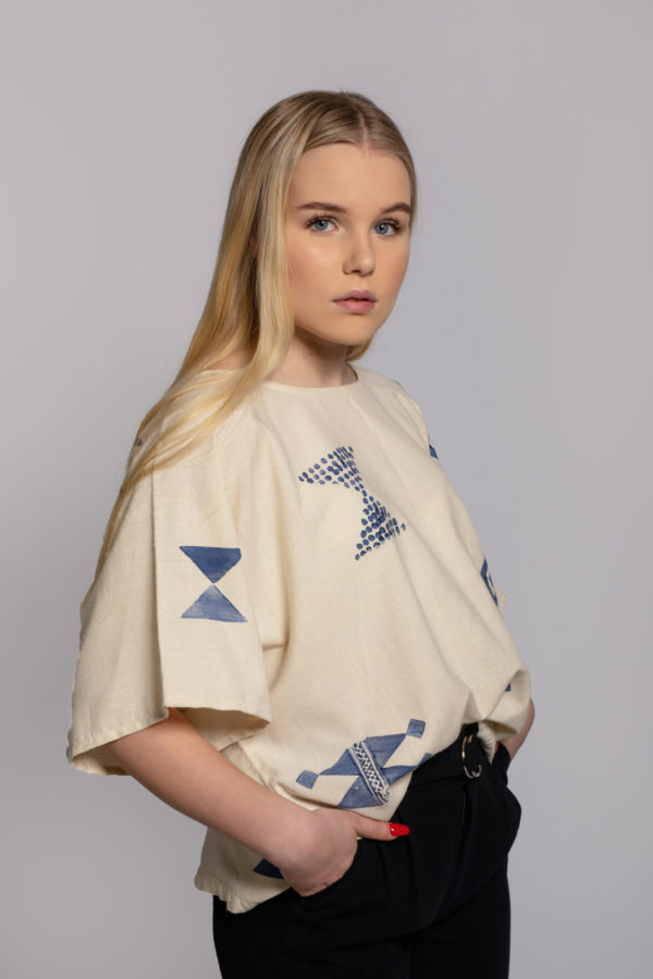 peace silk block top eri silk top block printed in singapore
