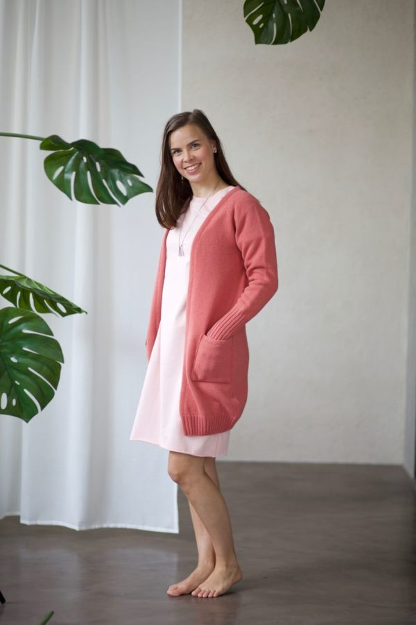 Ensilumi cardigan in wild rose