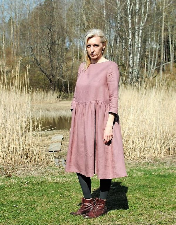 nostalgia dress dusty pink linen