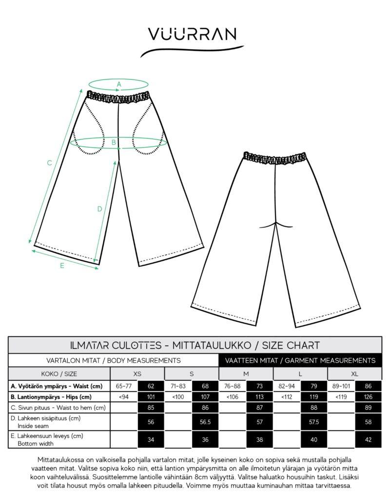 Ilmatar Culottes size chart