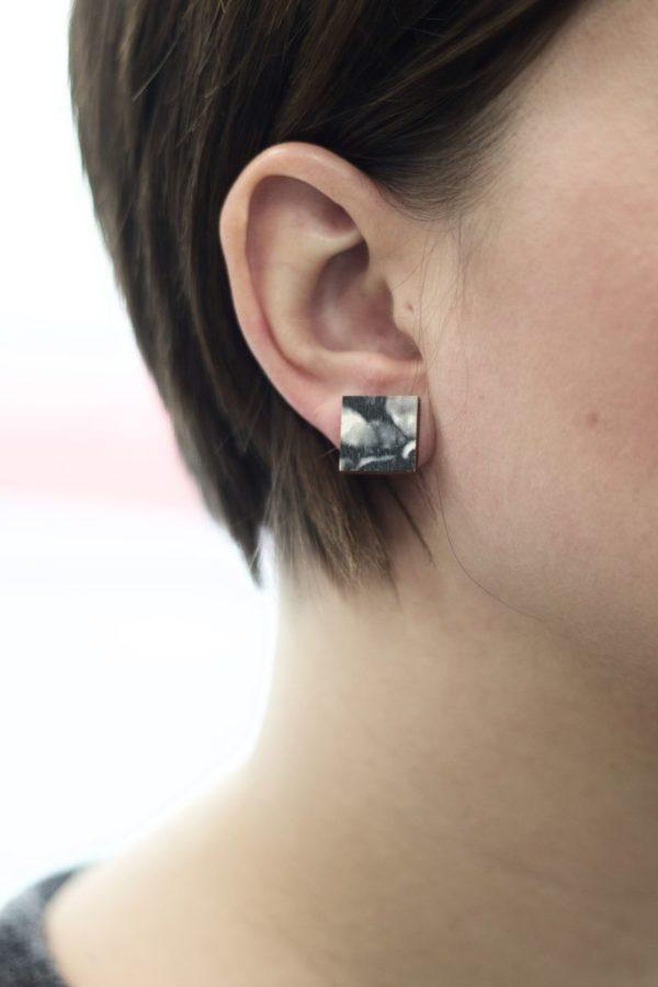 Ink square earrings