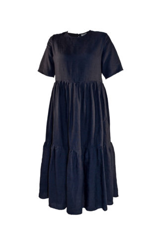 laura gathered dress in navy