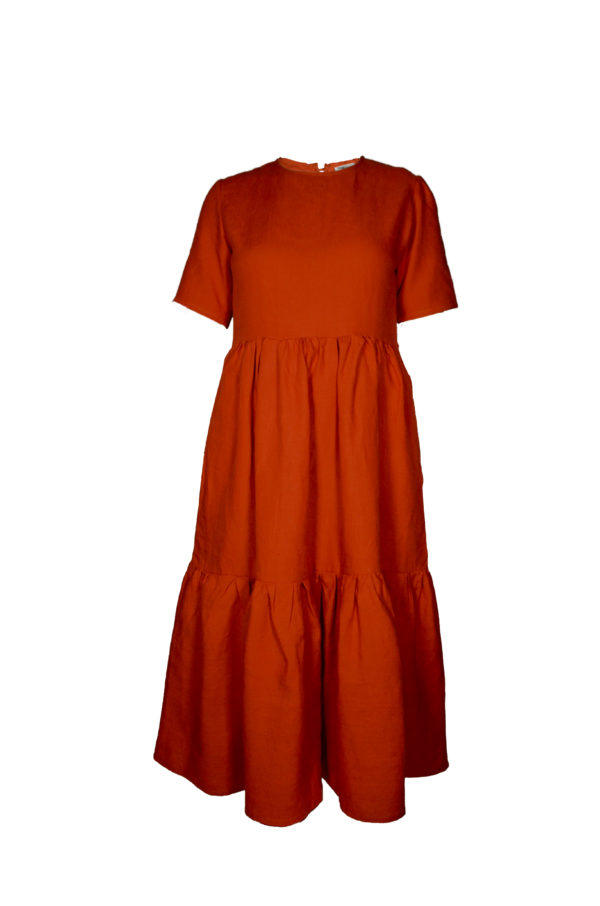 laura dress in rust