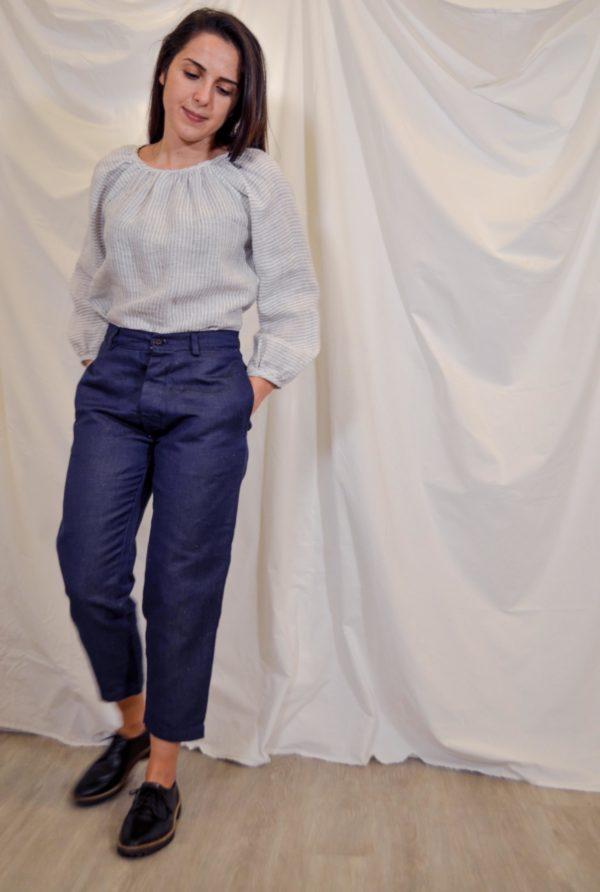 sini trousers in navy hemp cotton front