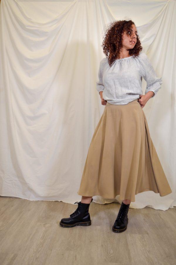 sofia a line midi skirt in beige