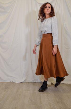 sofia skirt rust brown tencel
