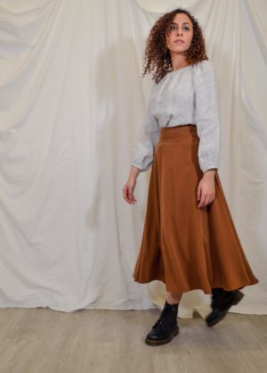 sofia skirt rust brown tencel
