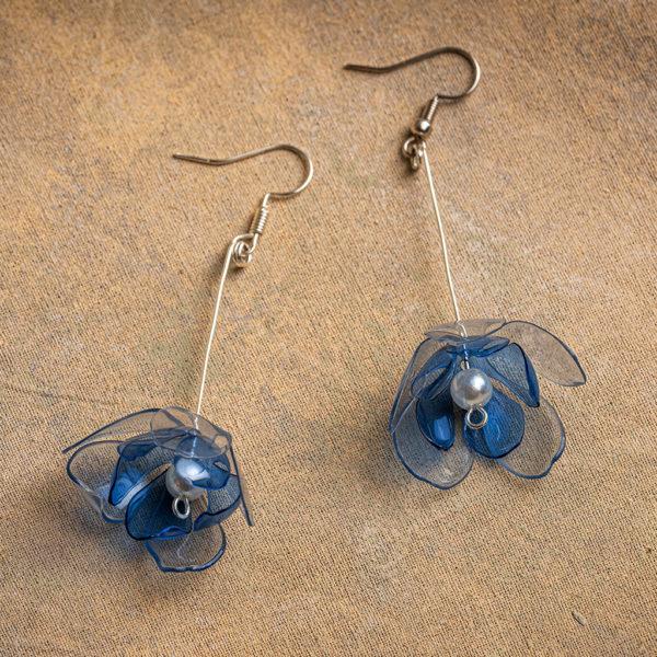 Clear & Blue Double Flower Drop Earrings