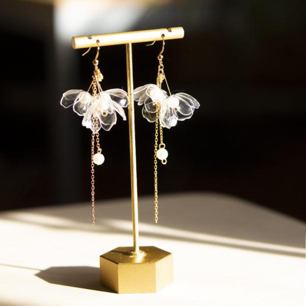 Clear Triple Flower Drop Earrings
