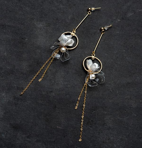 Clear & White Long Drop Flower Earrings