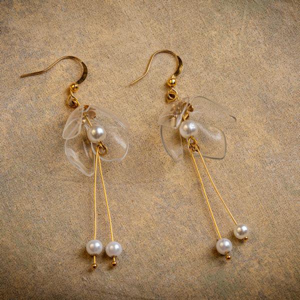 Clear Lily Double Drop Earrings