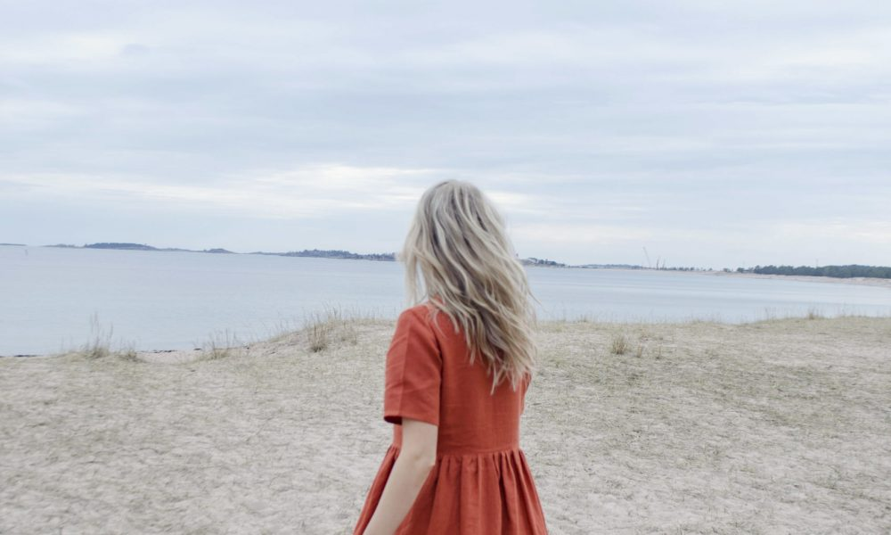 Gathered linen laura dress in rust, ethical sustainable clothing made in finland