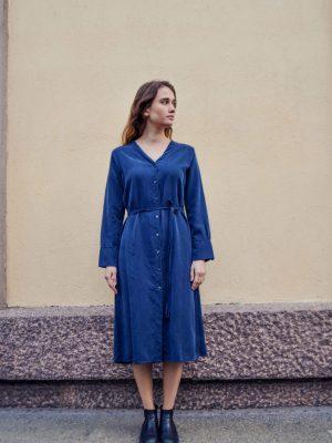 Tuula tencel navy shirtdress, made in finland